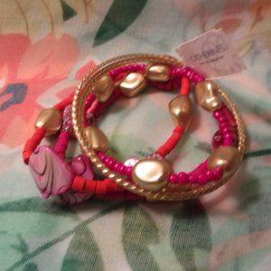 Catherines Pink Orange Gold Bracelet Set